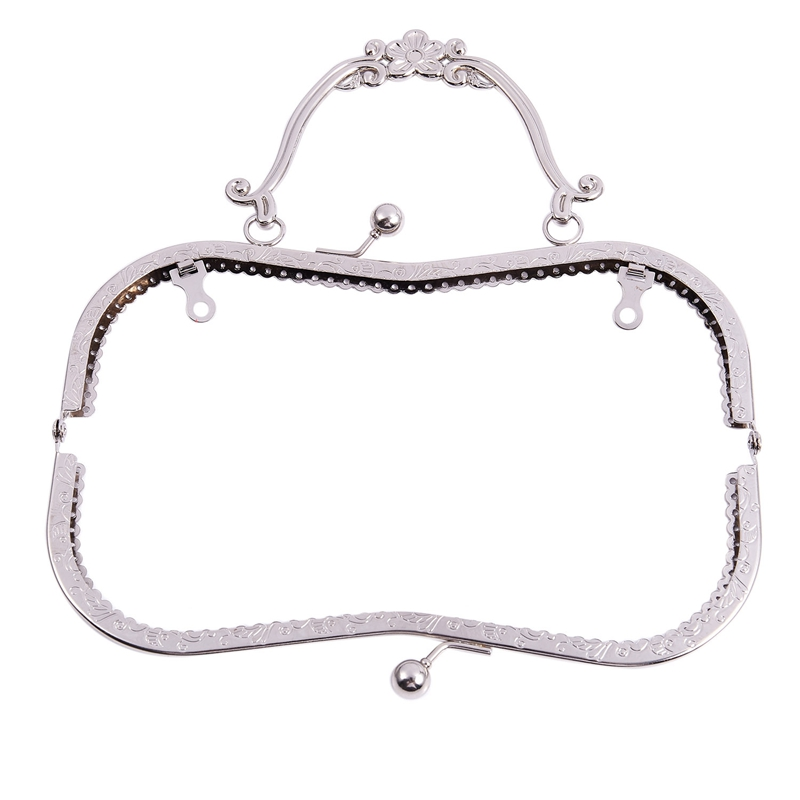 1PC Metal Purse Bag Frame Kiss Clasp Lock Silver Tone Size:21x9cm