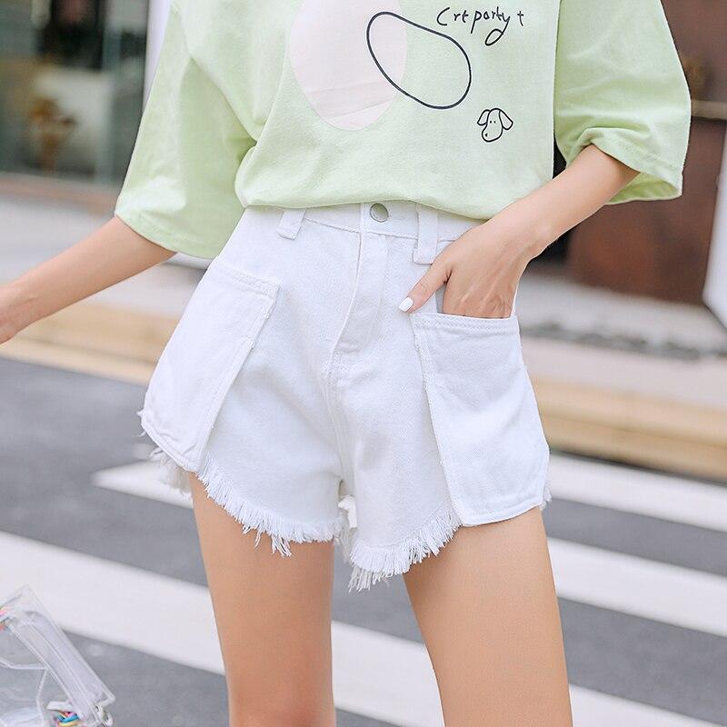 S 4XL Summer Women 39 s Shorts Plus Size Big Pocket Denim Shorts Women Blue White Black Short Jeans Korean Style Women Short Pants in Shorts from Women 39 s Clothing