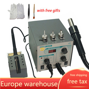 QUICK 706W+ Digital Display Hot Air Gun + Soldering Iron Anti-static Temperature Lead-free Rework Station 2 in 1 With 3 Nozzles
