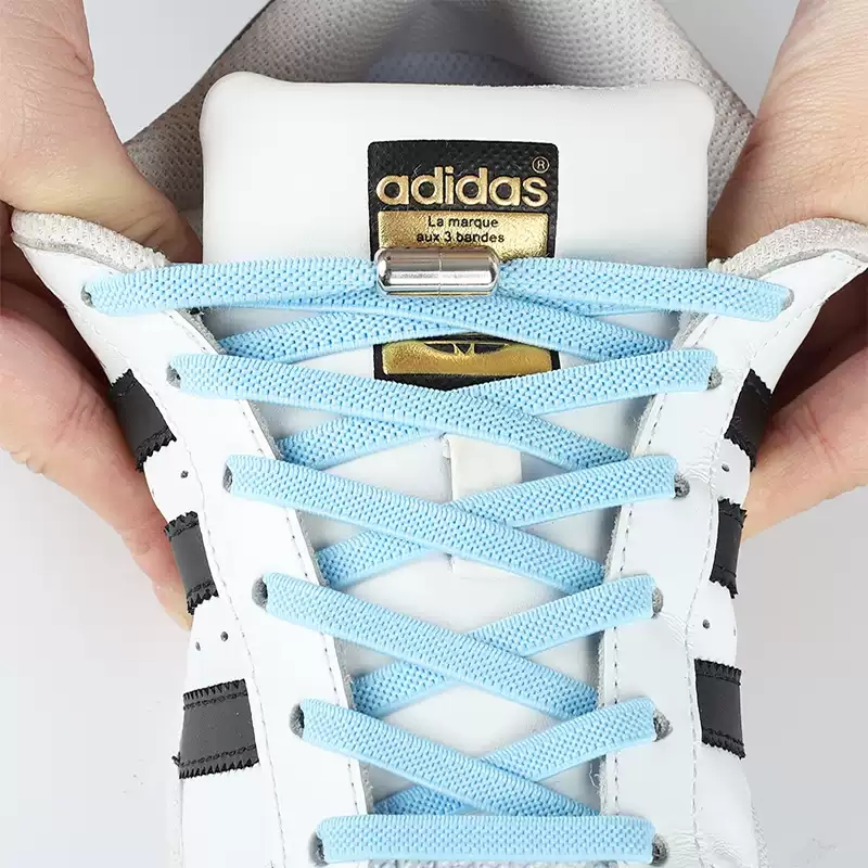 Metal Lock Round Elastic Shoelaces Flat Fashion Safety No Tie Shoelace Suitable For All Kinds Of Shoes Accessories Lazy Laces