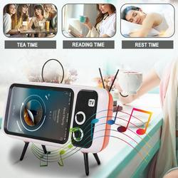 with phone stand Music Player Bracket Mini Wireless Mobile Phone Retro Bluetooth Speakers TV portable soundbar tron smart anker