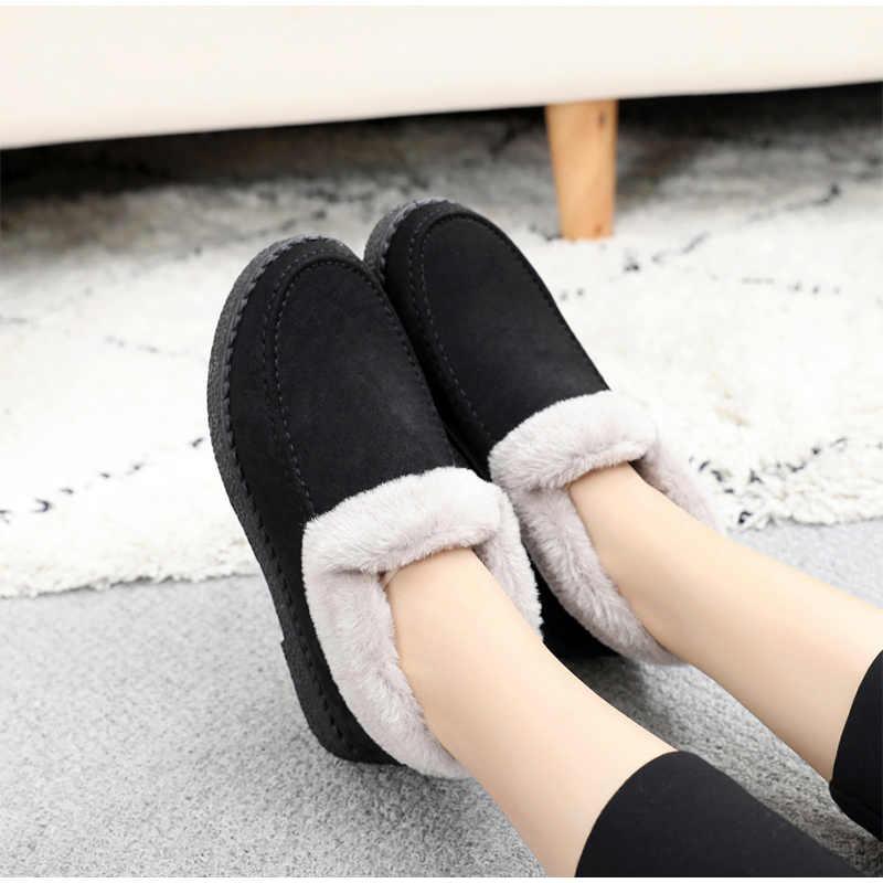 Kadın sığ sıcak yarım çizmeler kadın moda basit süet dikiş çizmeler bayanlar kış platformu kısa kürklü peluş kadın ayakkabısı
