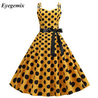 2019 Yellow Women Polka Dot Vintage Summer Dress Large Swing Retro Robe Prom Rockabilly Party Dress Sexy Halter Pinup Vestidos