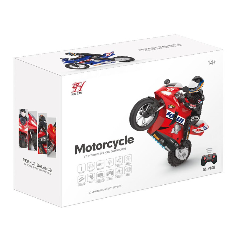 RC Motorcycle HC-802 Self-Balancing 6 Axis Of Gyroscope Stunt Racing Motorcycle Plastic RTR High Speed 20km/h 360 Degree Drift