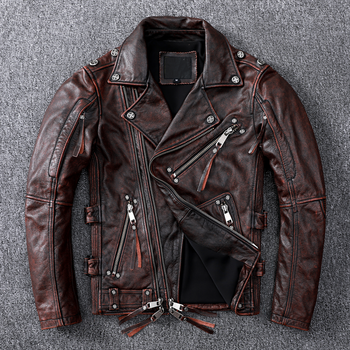2021 Vintage Brown American Style Motorcycle Leather Jacket Men Plus Size 5XL Genuine Cowhide Autumn Slim Fit Biker's Coat