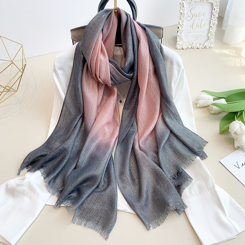 New Fashion Plain Ombre Lurex Glitter Viscose   Scarf   Shawl Lady High Quality Gradient Pashmina Fringe Stole Bufandas Muslim Hijab
