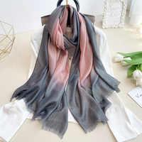 Nueva moda liso Ombre Lurex brillo Pañuelo de viscosa señora alta calidad gradiente Pashmina estola franja Bufandas Hijab musulmán