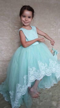 High Low Tulle Princess Dress Blue Flower Girl Dress with Lace Appliques Bow For Wedding Backless Girls Formal Wears Custom Made