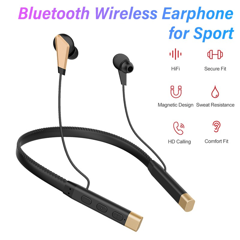 Leather Wire Neck-mounted Wireless Bluetooth Earphones Sports Running Headset 8D Stereo HIFI Earbuds Noise Reduction Headphones