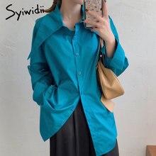 Syiwidii kadın bluzlar büyük yaka düğme yukarı gömlek kore 2021 Vintage uzun kollu kadın üstleri pamuk beyaz mavi gömlek ve bluz