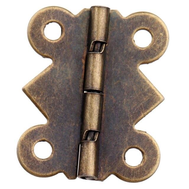 4 pièces Antique Bronze charnière meubles accessoires Vintage bijoux en bois boîte charnières armoires de cuisine raccords pour meubles 25x20mm