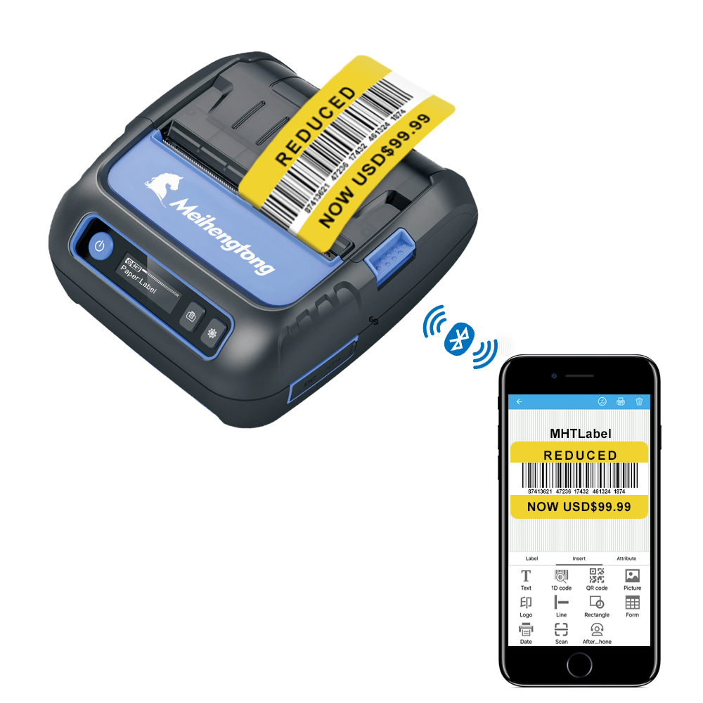 MHT-P80F Thermal Receipt Printer Label Maker 2 In 1 POS Printer 80mm Bluetooth Android/iOS/Windows Bar Code Sticker