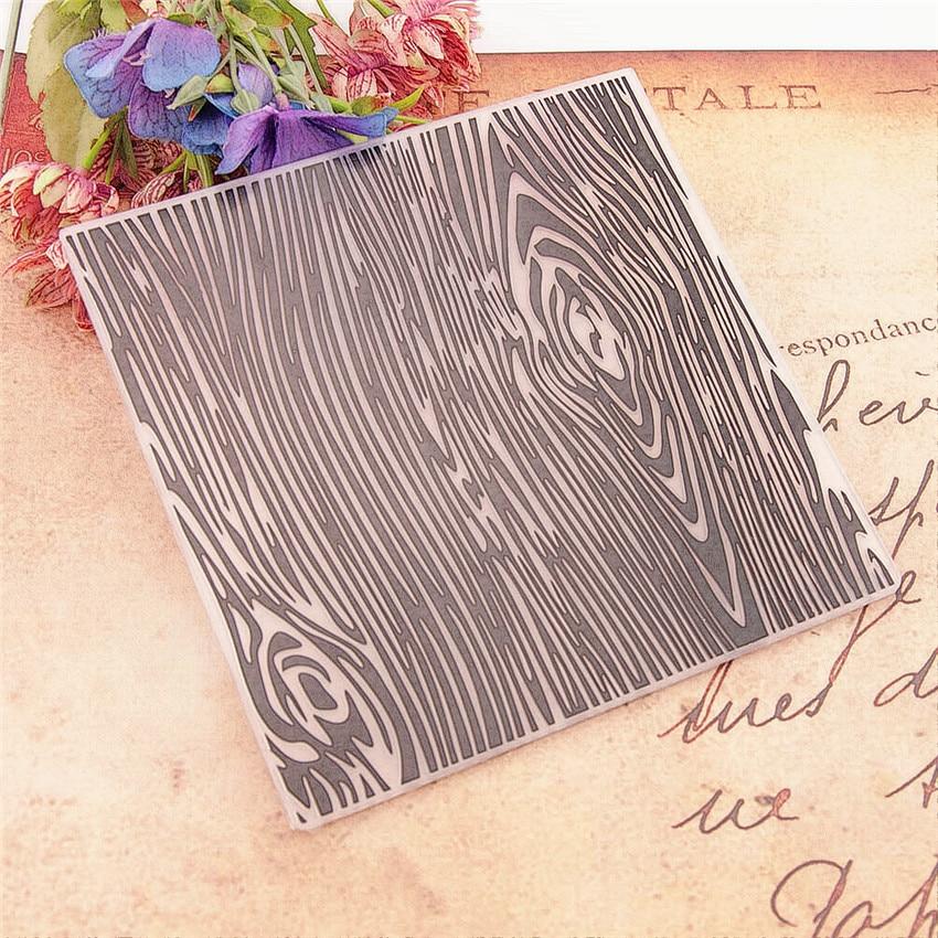 15*15cm Wood Grain Embossing Folders Plastic Bump Scrapbooking DIY Template Fondant Indentation Cake Photo Album Card Makin