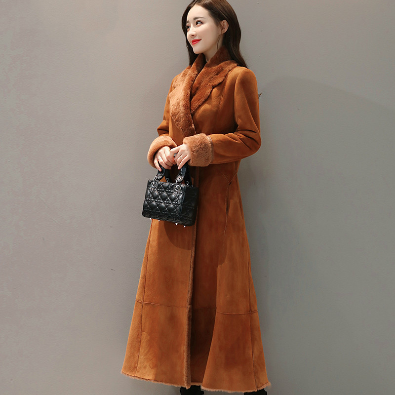 Winter Female Fur Jacket + Fur Collar Fashion Faux Fur Coat Women 2020 Korean Thick Warm Vintage Long Coat Hiver TF71103