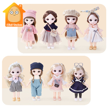 16CM Bjd Doll 13 Movable Joints Cartoon Plastic Dress Up Clothes Beauty Makeup Game Set Educational Toys For Girl Fashion Gift