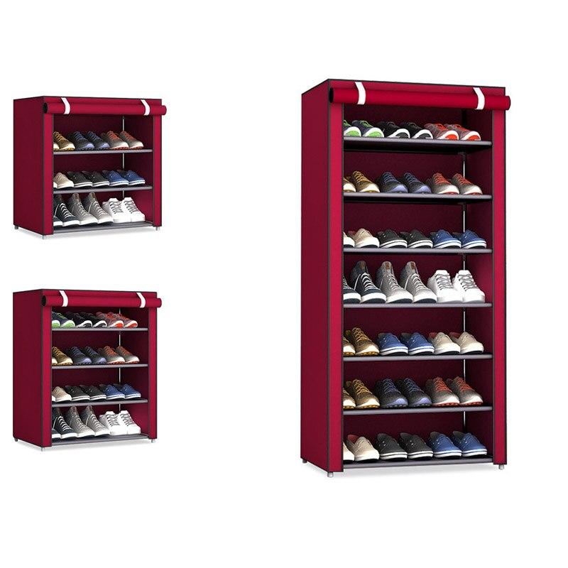 Tela no tejida almacenamiento Zapatero pasillo gabinete organizador titular 4/5/6 capas montar zapatos estante DIY muebles para el hogar