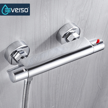 EVERSO Bath Shower Faucet Thermostatic Faucet Wall Mounted Mixer Valve Tap Temperature Control Rain Shower Chrome Bathroom Twin цена и фото