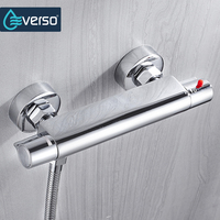 EVERSO Bath Shower Faucet Thermostatic Faucet Wall Mounted Mixer Valve Tap Temperature Control Rain Shower Chrome Bathroom Twin
