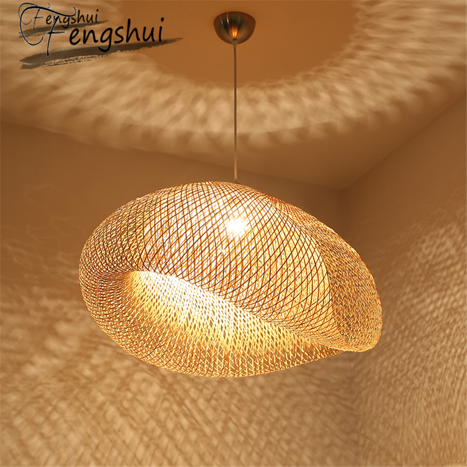 Modern Art Pendant Lights Bamboo Lamp Restaurant Hotel Rattan Pendant Lamp For Living Room Hanging Kitchen Lamp Light Fixtures