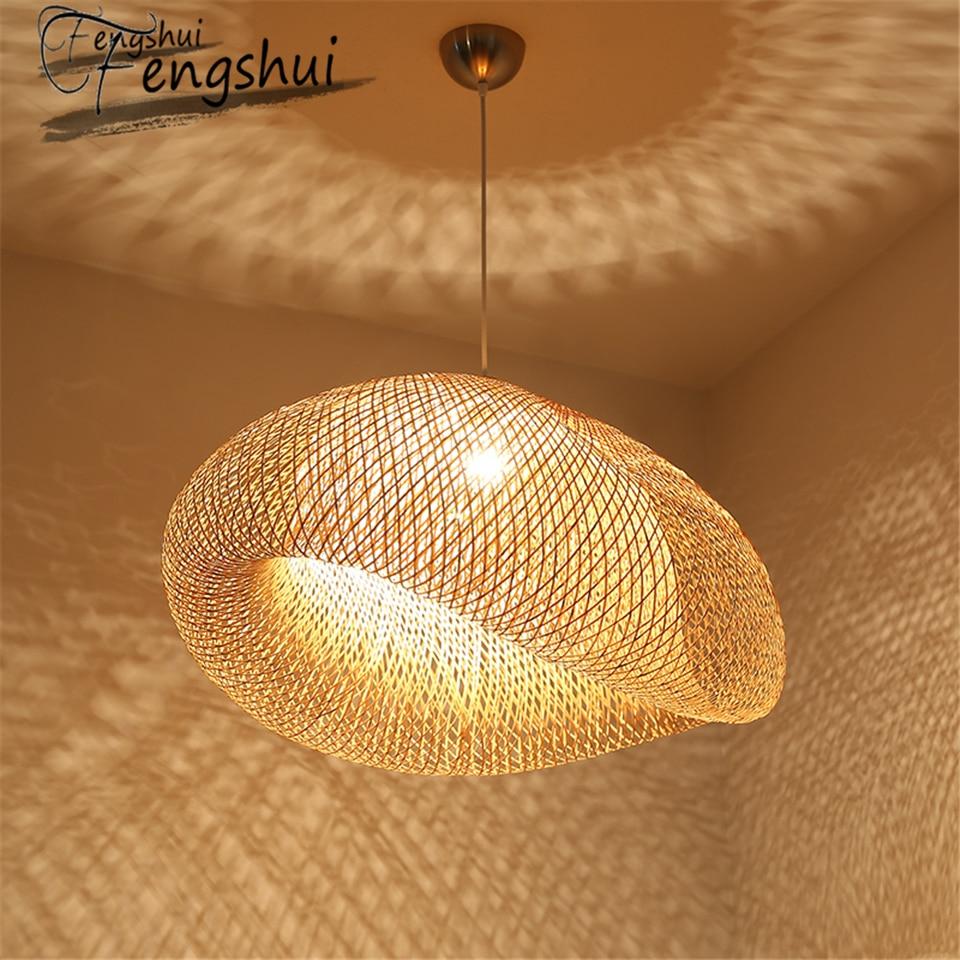 Modern Art Pendant Lights Bamboo Lamp Restaurant Hotel Rattan Pendant Lamp For Living Room Hanging Kitchen Lamp Light Fixtures