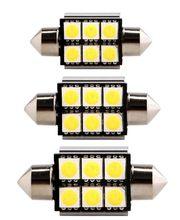 10 pièces C5W 211 5050 6SMD 36mm 39mm 41mm Blanc Érreur feston gratuit canbus Ampoule LED lampe feston dôme DC 12V