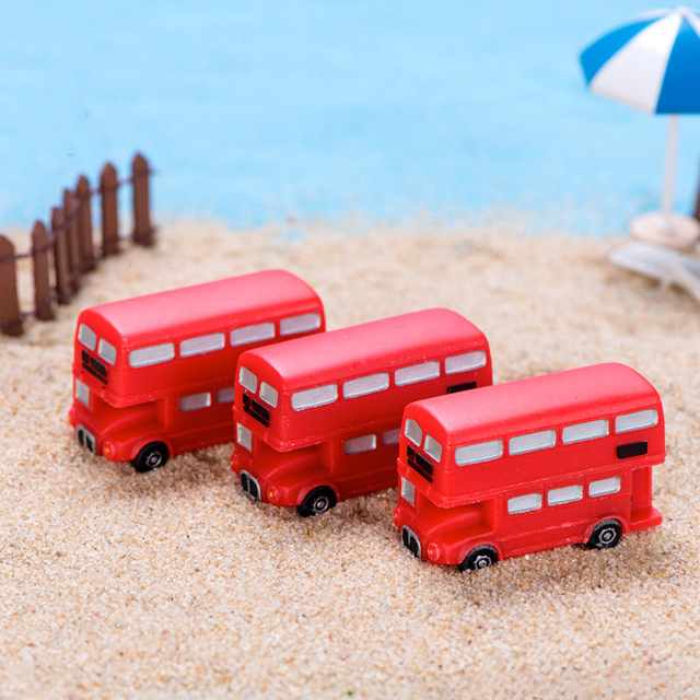 BAIUFOR Vintage Red Mailbox Telephone Booth Bus Figurines & Miniatures Sand Table of Building Model Child kids Toys 3
