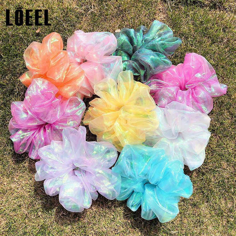 Fashion Women Hair Accessories Organza Gradient Color Elastic Rubber Band Gum For Hair Ponytail Holder Scrunchie Headband Female