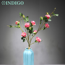 Wedding Flower (3stem 15 flowers/set) 90cm Silk Rose Spray Bundle Pink Floral Event Party Decoration Free Shipping