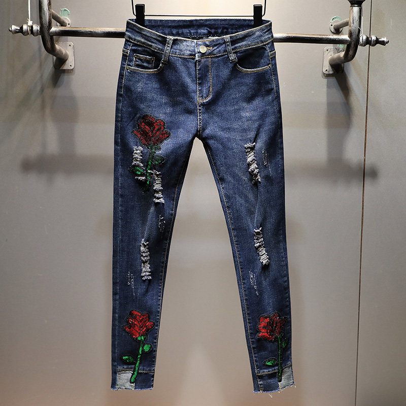 2020 Jeans For Woman Women's Jeans With Embroidery Skinny Pencil Pants Oversize Pant Denim High Waist Full-Length Trousers
