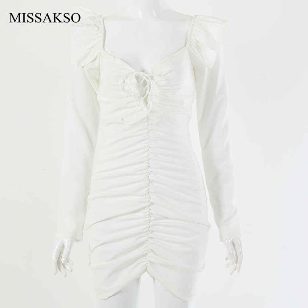 Missakso Musim Gugur Musim Dingin Slim Backless Ruched Hitam Solid Putih Lengan Panjang Pesta Klub Ruffle Sexy Wanita Mini Gaun