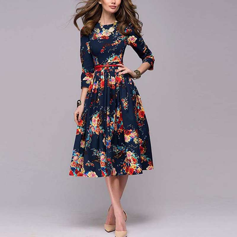 2020 Autumn Vintage Women Stripe Foral Print Party Office Robe Rockabilly Dresses Vestidos Puff Dress