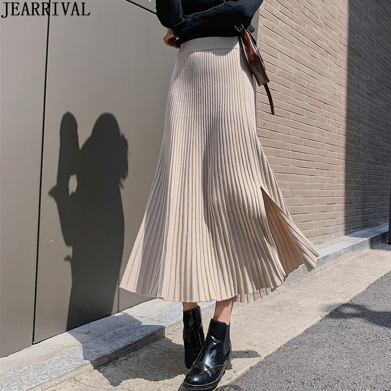 New Women's High Waist Long Winter Skirts High Waist Solid Color Split Pleated Skirt Female Knitted Warm Maxi Skirt Saia Faldas