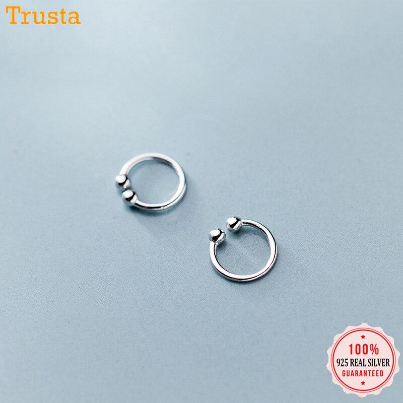 Trustdavis  2pcs 100% 925 Sterling Silver Beads Clip On Earrings Ear Cuff  For Women Sterling Silver Jewelry Earring Gift DA399