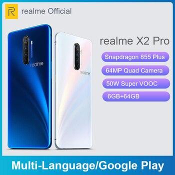Перейти на Алиэкспресс и купить Realme X2 Pro X 2 6 Гб 64 Гб 6,5 ''мобильный телефон Snapdragon 855 Plus 64-мегапиксельная четырехъядерная камера телефон NFC OPPO VOOC быстрое зарядное устройство 50 В...