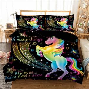Cartoon Black Unicorn Bedding
