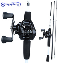 цена на Sougayilang Portable 3 Section 1.75m Fishing Rod Combo Carbon Fishing Rod with12+1BB Baitcasting Reel Fishing Tackle Set