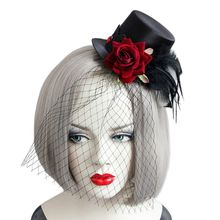 цена на Women Fascinator Party Veil Feather Hairclip Top Hat Rose Resin Diamond Hairband