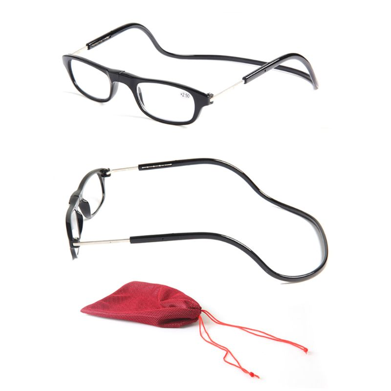 Fashion Magnet Eyewear Folding Hanging Neck Reading Glasses HD Resin Lens