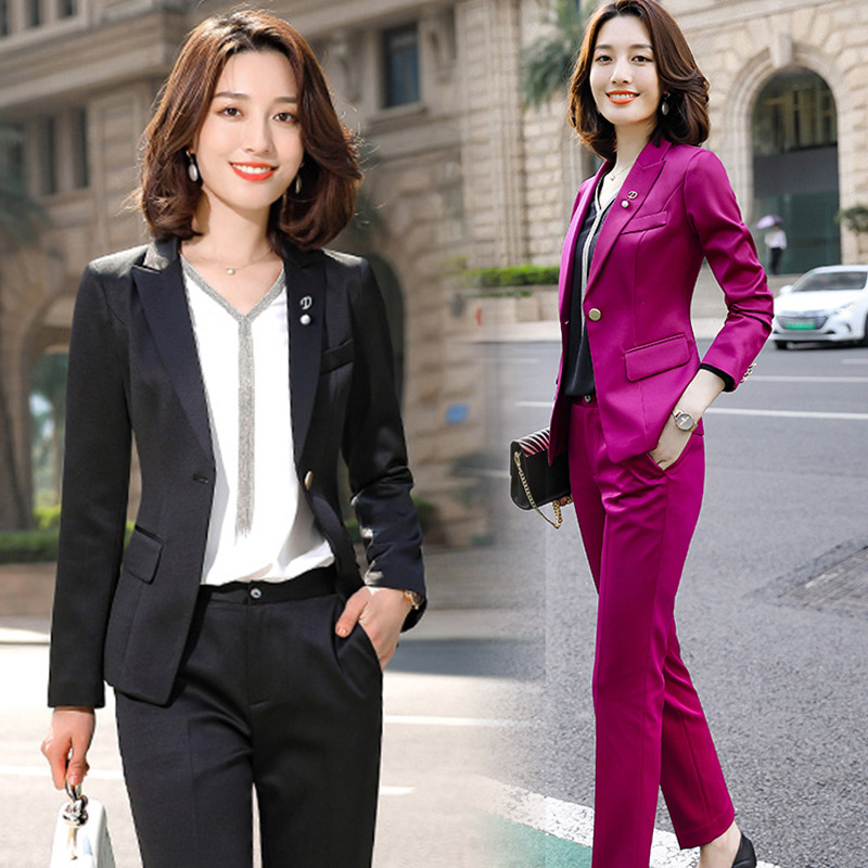 Purple White Formal Elegant Women's 2 Piece Set Pants Suits Blazer Jacket Office Lady Work Business Uniform Trousers Clothing