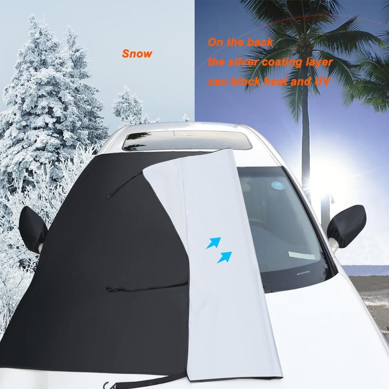Parasol de coche bloque de nieve parasol de coche Protector de sol Protector de parabrisas delantero Anti-escarcha medio coche ventana cubierta Auto Accessorie Protector para volante de coche FORAUTO, fundas de cuero de PU antideslizantes y transpirables, adecuado para decoración de automóvil de fibra de carbono de 37-38cm