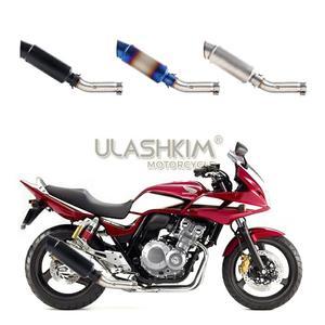 Image 3 - Motocykl pełny układ wydechowy tłumik rura z łączem pośrednim Slip On dla Honda CB400 CB 400
