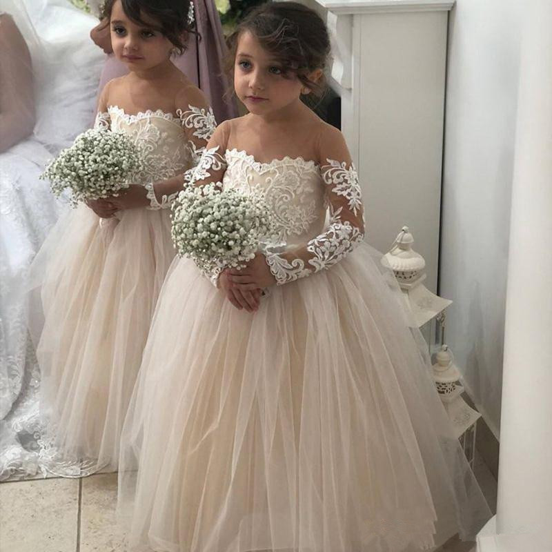 Cute 2019   Flower     Girl     Dresses   For Weddings Ball Gown Long Sleeves Tulle Appliques Lace Long First Communion   Dresses   Little   Girl