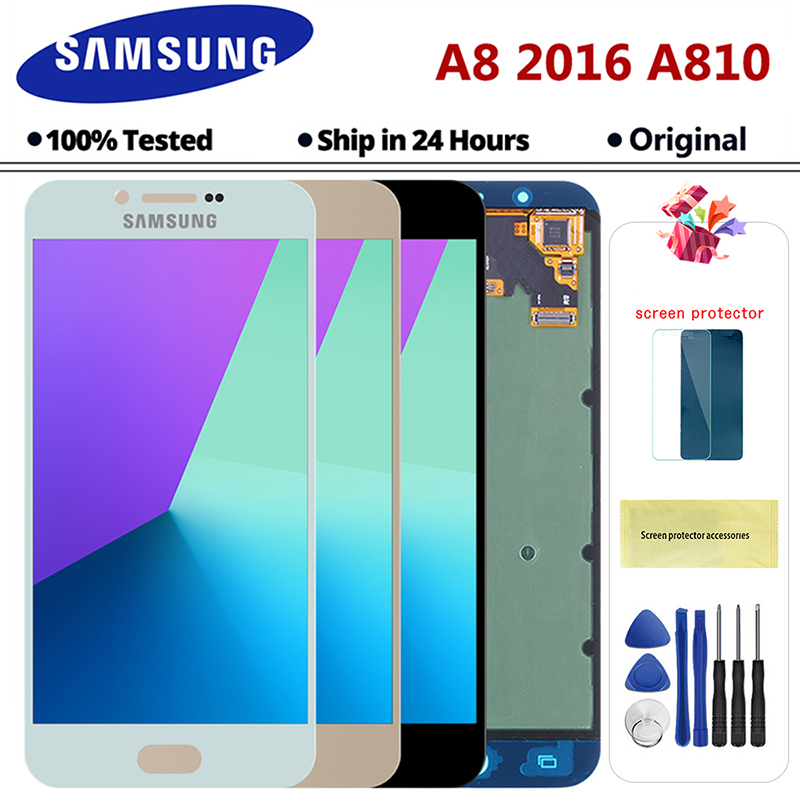 A810 Display SUPER AMOLED For Samsung Galaxy A8 2016 A8100 A810 LCD Display Touch Screen Digitizer Assembly Replacement A8 LCD image