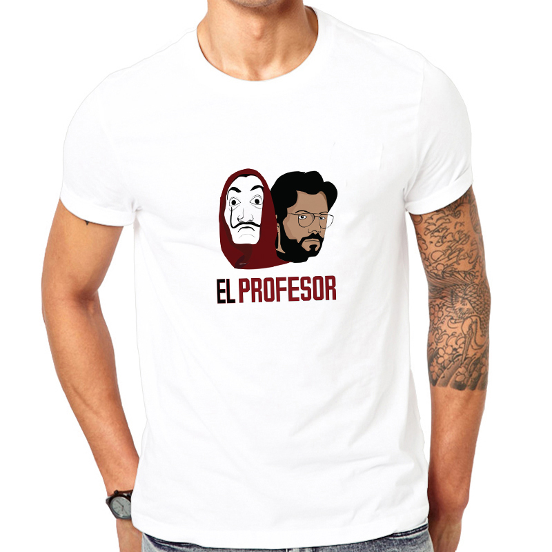 Showtly La Casa De Papel Tshirt Money Heist Tees TV Series EL PROFESOR Streetwear Men T Shirt  House Of Paper Oversized Tee Tops