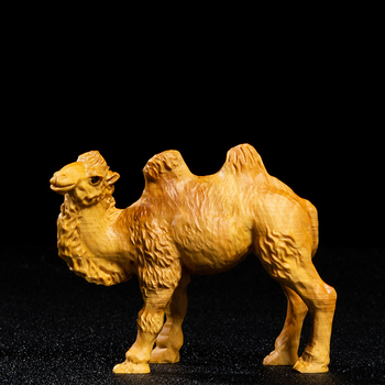 Desert Camels Animal Wood Statue Home Decoration Animal Statue Boxwood Carving Car Decorations