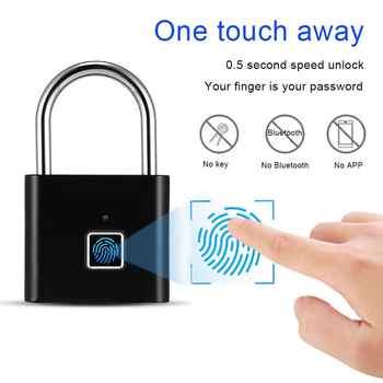 Black silver Keyless USB Rechargeable Door Lock Fingerprint Smart Padlock Quick Unlock Zinc alloy Metal Self Developing Chip - DISCOUNT ITEM  58 OFF Security & Protection