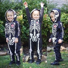Hot Selling Baby Clothes 2019 Baby Skull Long Sleeve Jumpsuit Hooded Halloween Baby Boy Clothes  Baby Romper Newborn Clothing