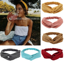 2021 Women Solid Headband Turban Elastic Headwear Head Wrap Women Hair Accessories for Women Striped Hair Bands