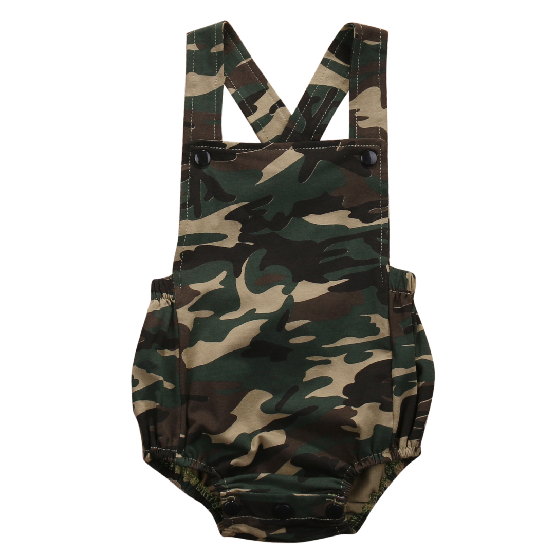 Pudcoco New Brand Summer Newborn Baby Boys Sleeveless Camouflage Jumpsuit Backless Sleeveles Clothes Outfit