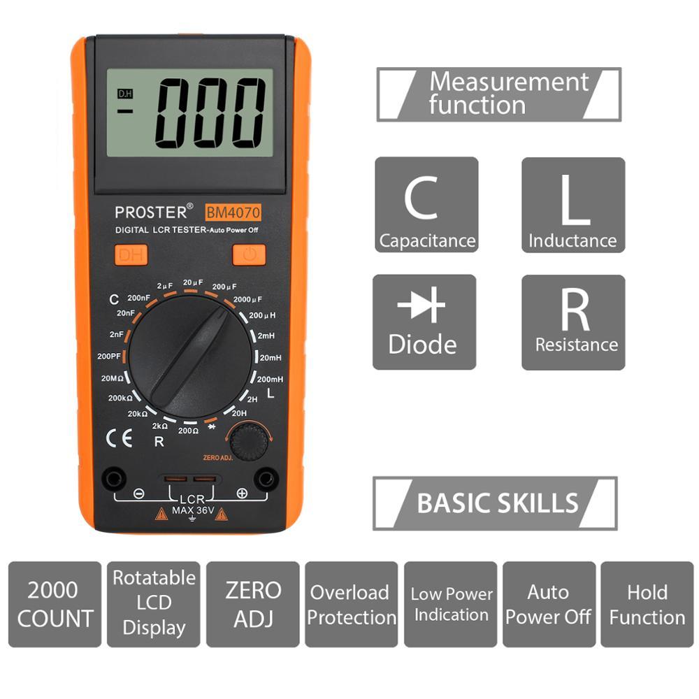 Tools : Proster LCR Meter With Overrange Display Capacitance Inductance Resistance Multimeter Self-discharge Tester Measuring Meter